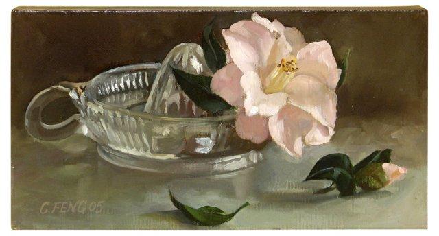 Pink Camellia w/ Glass