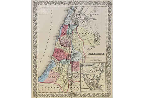 Palestine w/ Arabian Peninsula, 1856