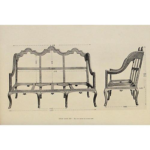 Louis XIV Walnut Sofa, C. 1900