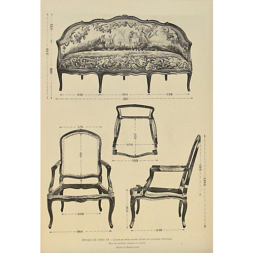Louis XV Sofa & Chairs, C. 1900