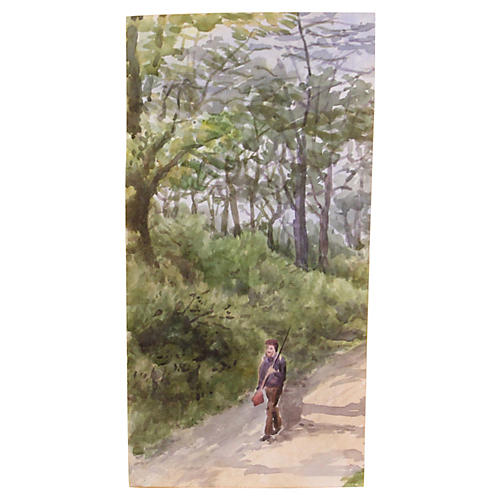 Man on Forest Path, C. 1920