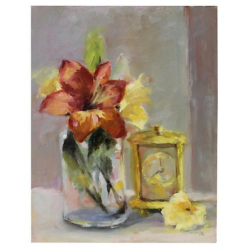 Lilies w/ Clock Still LIfe