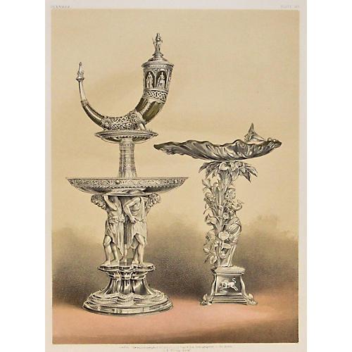 Silver Epergne w/ Horn & Tazza, 1863