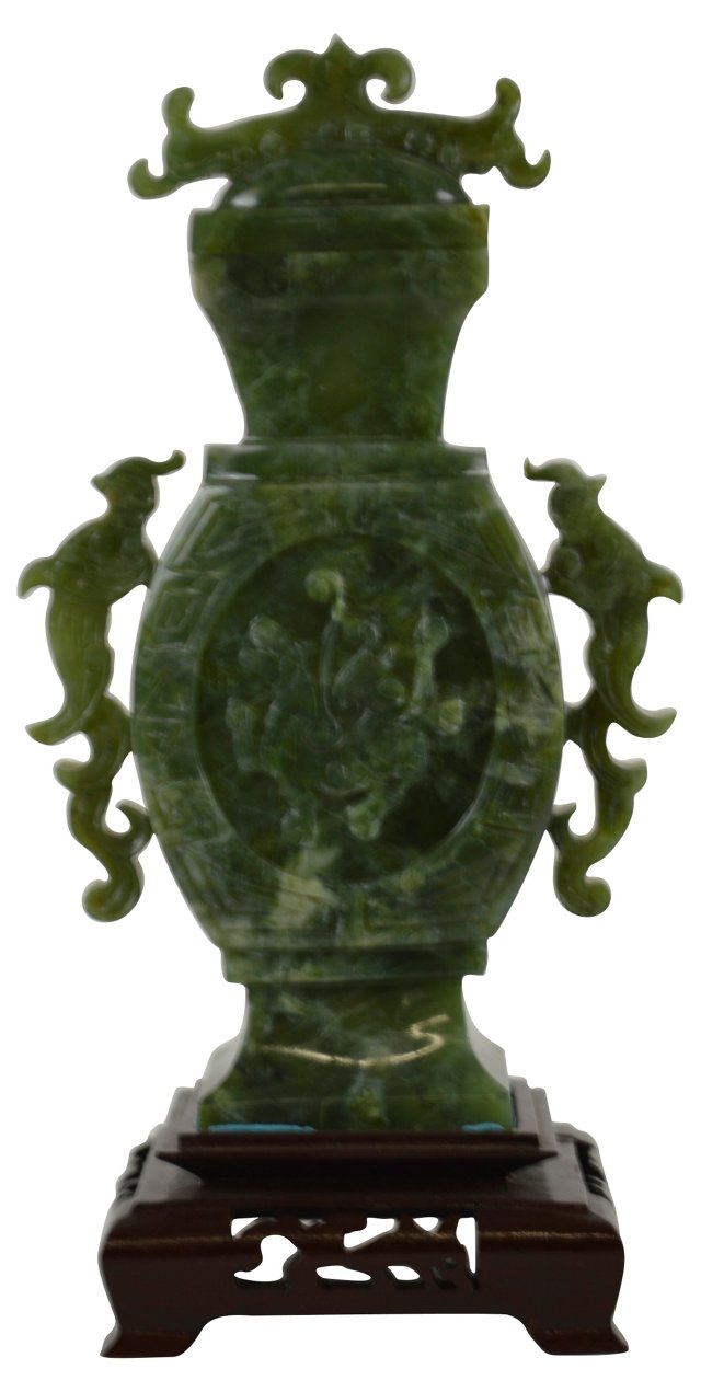 Chinese Carved Jade Urn on Stand