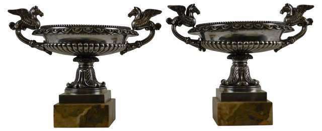 French Silvered Bronze Tazza, Pair