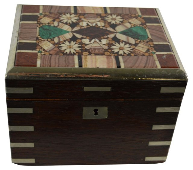 19th-C. Czech Pietra Dura Box