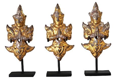 19th-C. Thai Gilded Angels, S/3