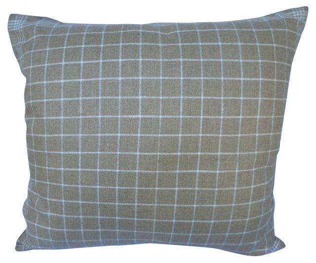 Plaid Natural Linen Pillow