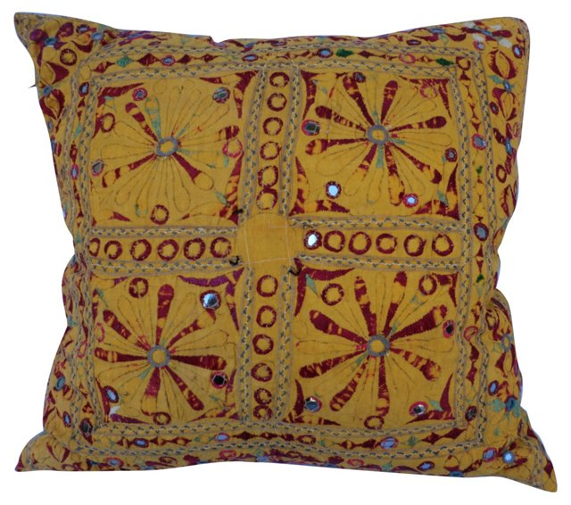 Pillow w/ Mirrors & Embroidery