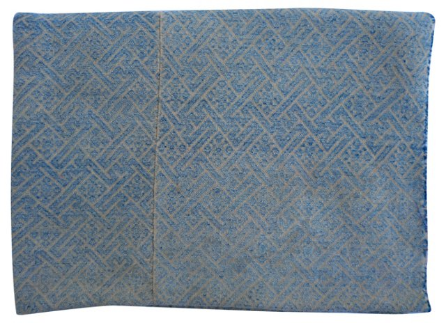 Sky Bkue Embroidered  Wedding Quilt