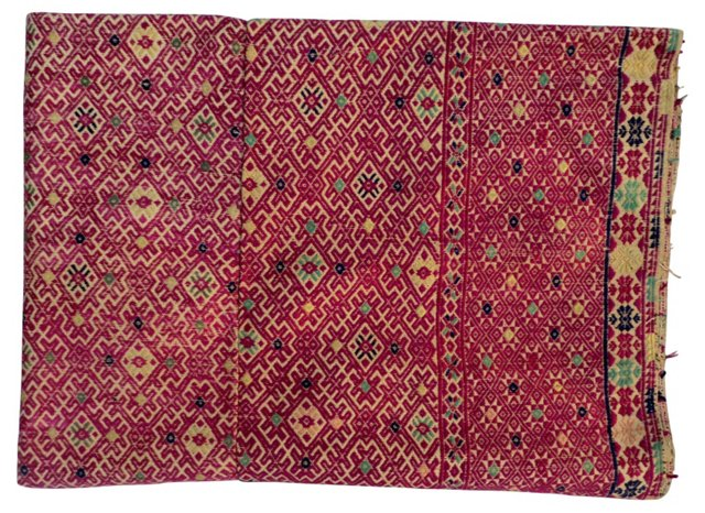 Hand-Embroidered Silk Quilt