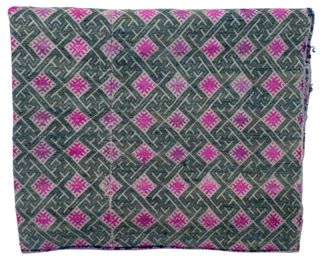Silver & Pink Embroidered Throw