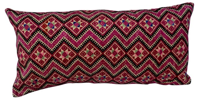 Pink Silk Embroidered Pillow