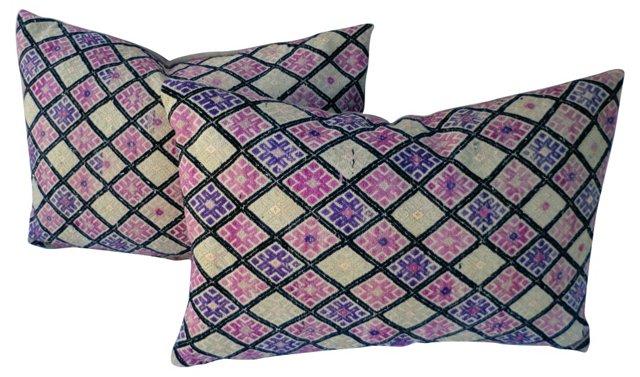Silk Embroidered Pillows, Pair