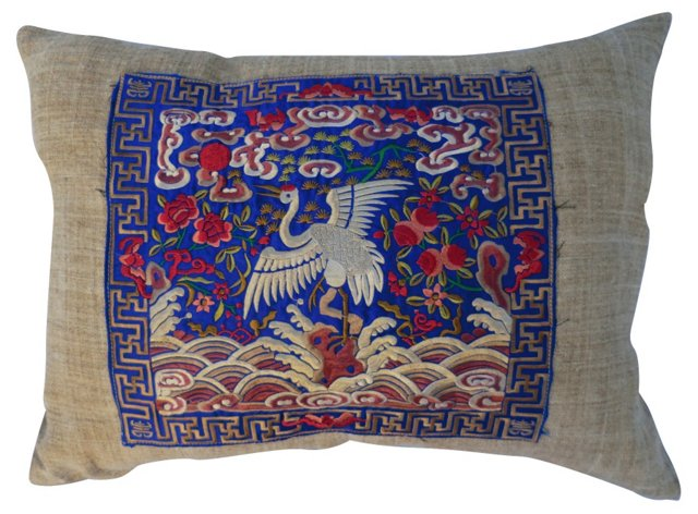 Embroidered Crane Pillow