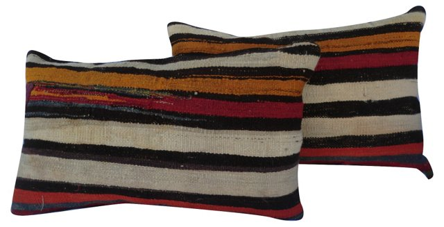 Ochre & Red-Striped Pillows, Pair