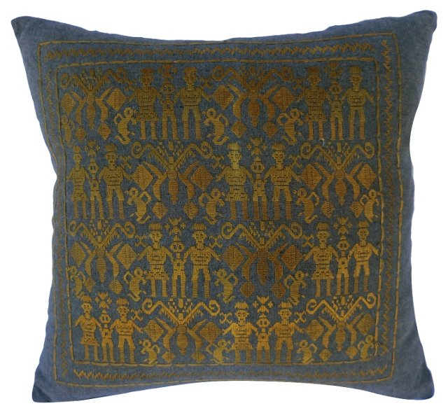 Hand-Embroidered Tribal Pillow