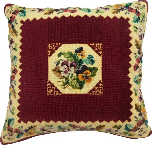 Petit Point Pansy Pillow