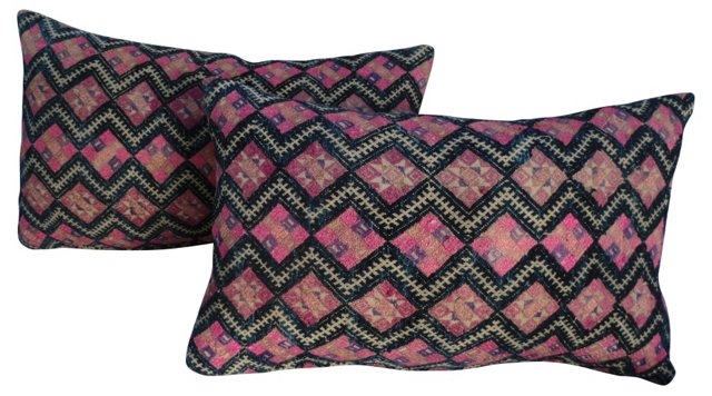 Indigo & Pink Embroidered Pillows, Pair