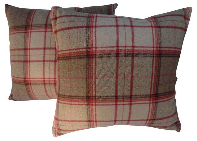 Soft Plaid Wool Pillows, Pair