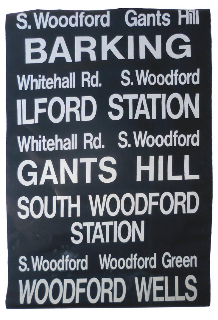 Linen London Bus Destination Sign