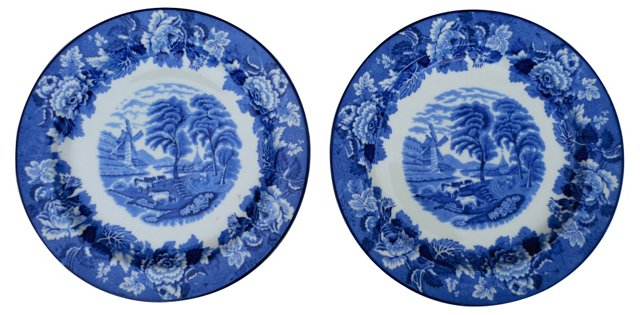 Pastoral Wall Plates, Pair
