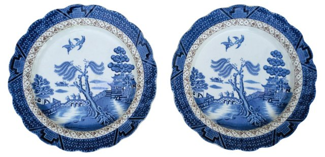 Booths Old Willow Wall Plates, Pair