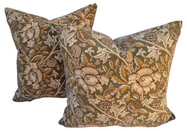 William Morris   Linen    Pillows, Pair