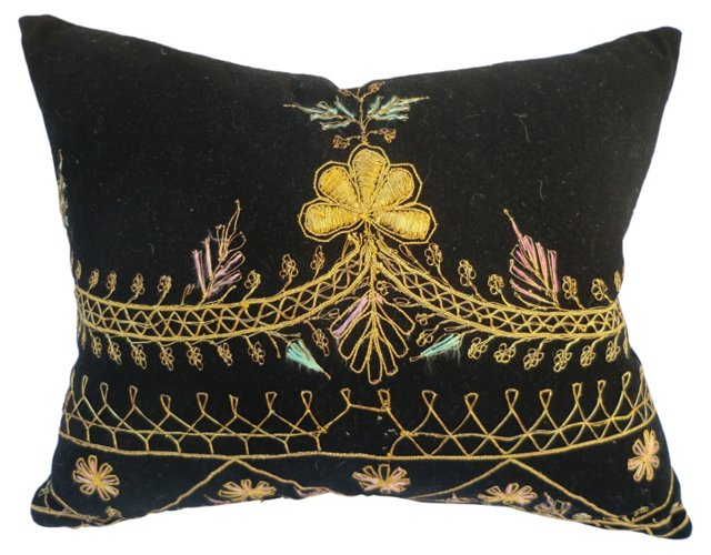 Gold-Embroidered Ottoman Pillow