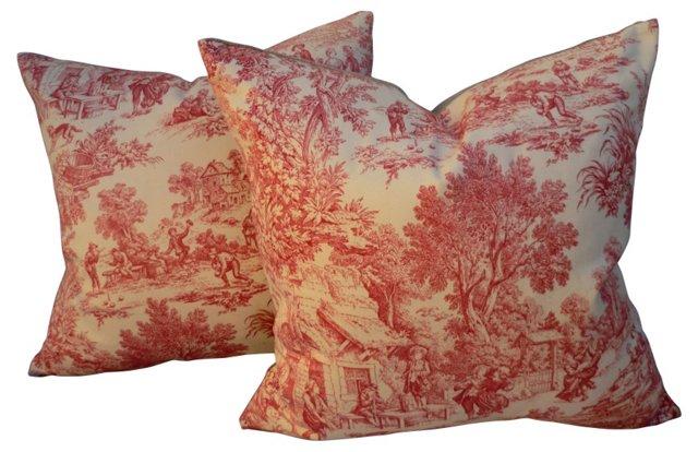 French Toile De Jour Pillows, Pair