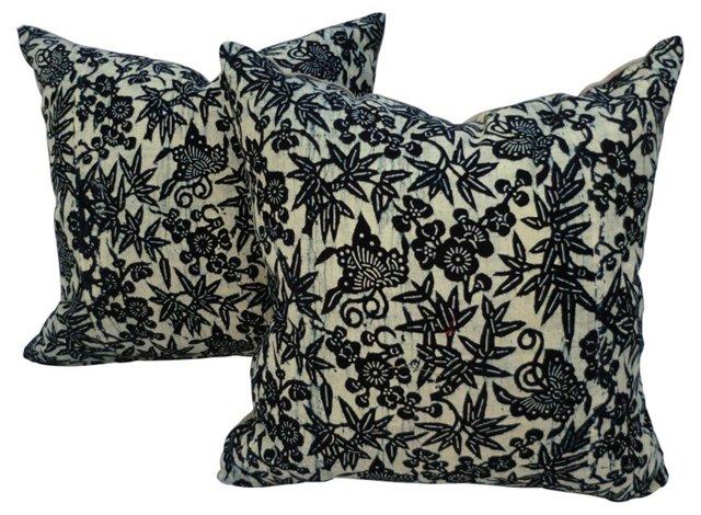 Butterfly Linen Gauze Pillows, Pair