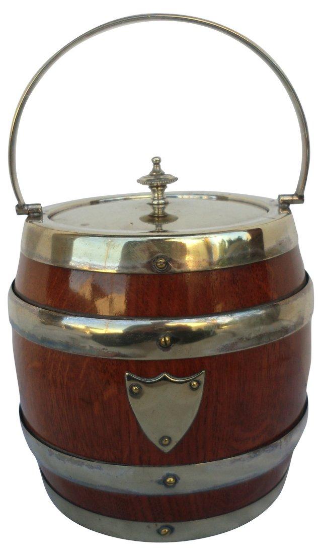 Golden Oak Silver Ice Bucket