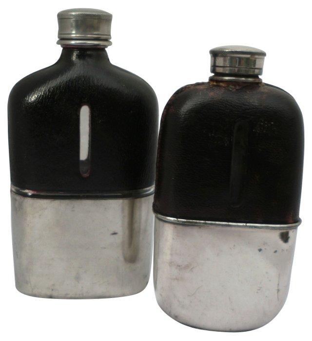 Victorian Liqueur Flasks, Pair