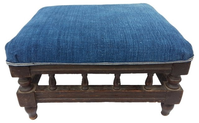 English Footstool w/ Indigo Linen