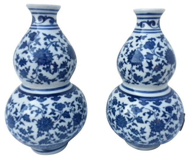 Chinese Gourd Vase, Pair