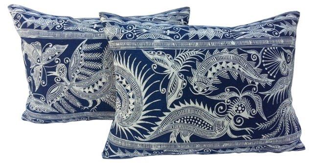 Hand-Batiked      Pillows, Pair