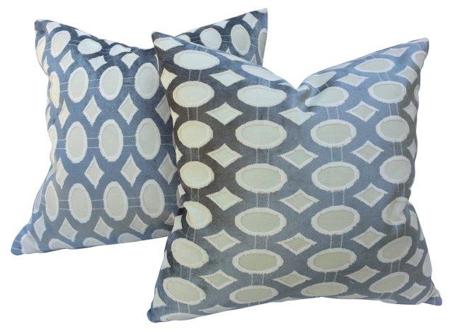 Italian Velvet Pillows, Pair