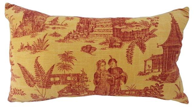 Chinoiserie Linen Pillow