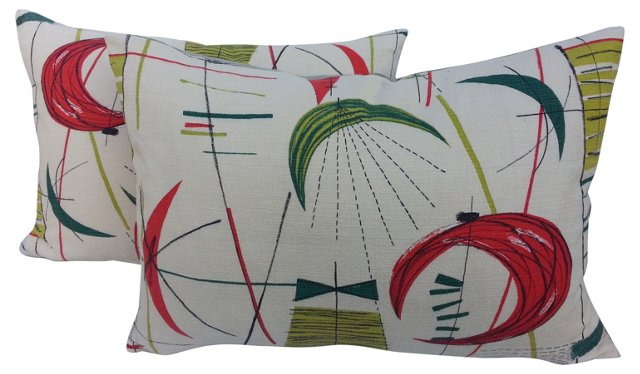 British Midcentury Pillows, Pair