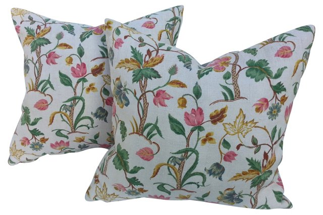 English Linen Floral Pillows, Pair