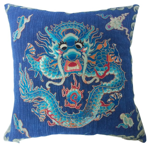 Silk  Embroidered Dragon Pillow