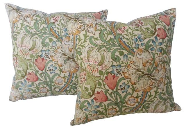Morris Linen Lily  Pillows, Pair