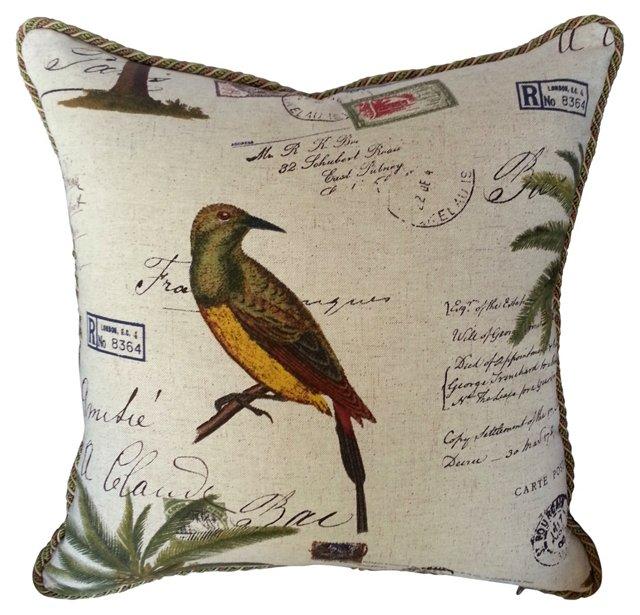 English Linen Bird Pillow