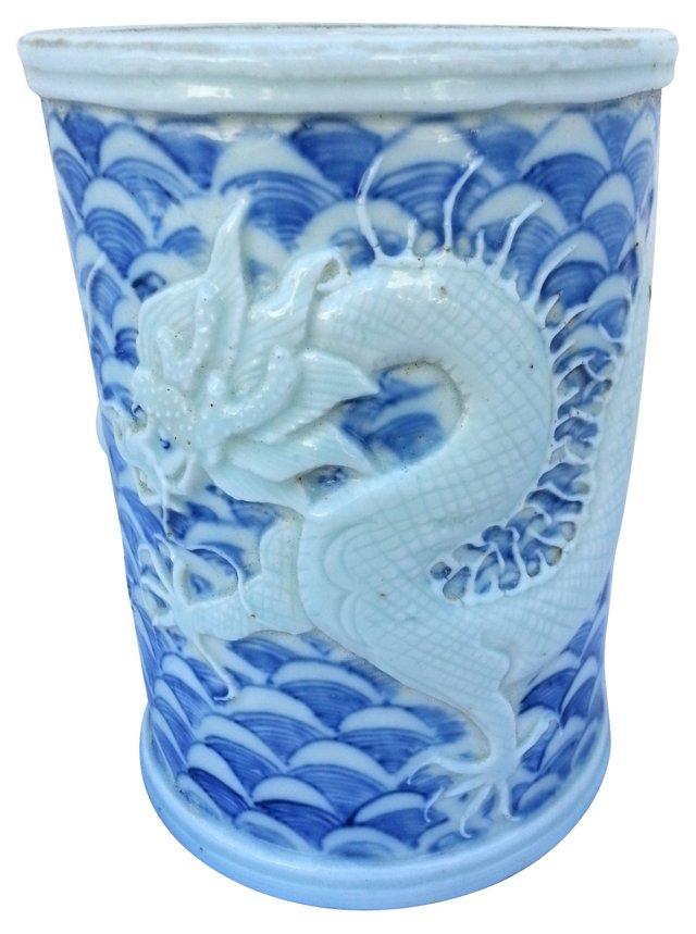 Raised Dragon Brush Pot