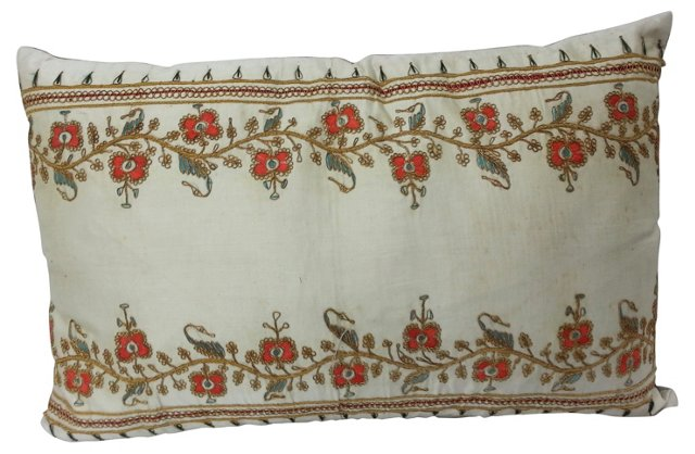 Persian Embroidered Gold Thread Pillow