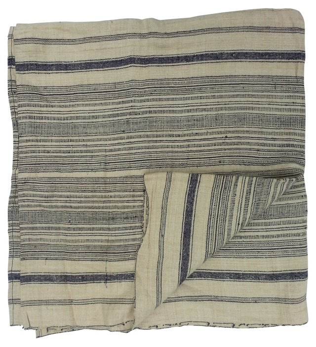 Striped Hill Tribe Linen Throw