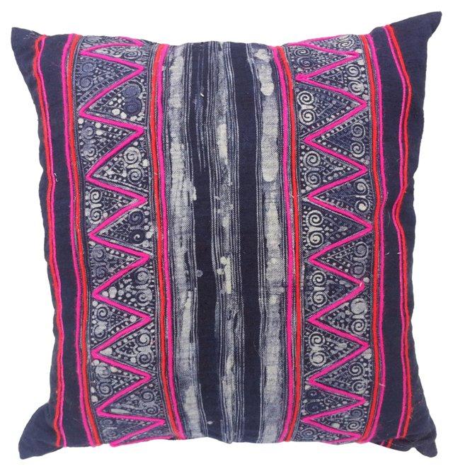 Indigo Pink Batik Pillow