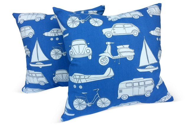 Pillows w/ Transport-Print Textile, Pair
