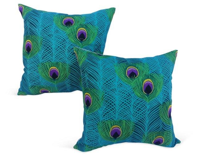 Peacock  Print Pillows, Pair
