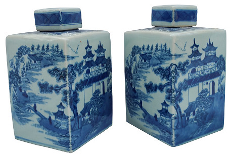Hand-Painted Ginger Jars, S/2